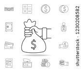 hand holds a bag of money icon. ... | Shutterstock .eps vector #1230208582