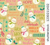cute snowman and fun typography ... | Shutterstock .eps vector #1230211432