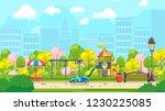 cartoon kids playground in city ... | Shutterstock .eps vector #1230225085