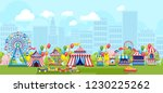 amusement park with ferris...   Shutterstock .eps vector #1230225262