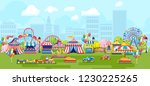 panorama of city park festive... | Shutterstock .eps vector #1230225265