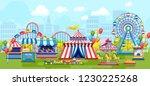 amusement park for kids plaing... | Shutterstock .eps vector #1230225268