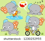 vector set of cute elephant... | Shutterstock .eps vector #1230252955
