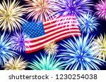 raster copy aerial fireworks... | Shutterstock . vector #1230254038