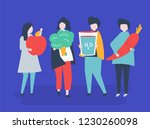 characters of people holding... | Shutterstock .eps vector #1230260098