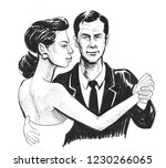 beautiful woman and man dancing.... | Shutterstock . vector #1230266065