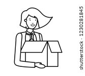young woman with cardboard box... | Shutterstock .eps vector #1230281845