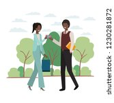 couple with shopping bag and... | Shutterstock .eps vector #1230281872