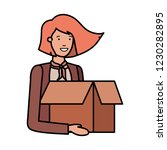 young woman with cardboard box... | Shutterstock .eps vector #1230282895