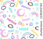 moon cloud star rainbow diamond ... | Shutterstock .eps vector #1230292765