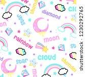 moon cloud star rainbow diamond ... | Shutterstock .eps vector #1230292765