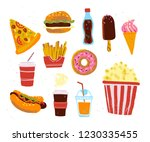 flat collection of fast food... | Shutterstock . vector #1230335455