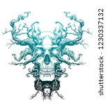 magic skull entangled with roots | Shutterstock . vector #1230337132