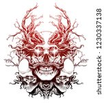 magic skull entangled with roots | Shutterstock . vector #1230337138