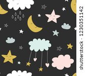 cute seamless clouds and stars... | Shutterstock . vector #1230351142