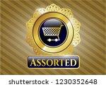 golden badge with shopping... | Shutterstock .eps vector #1230352648