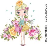 beautiful and cute young... | Shutterstock .eps vector #1230369202