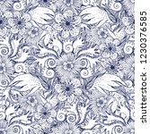 flower doodles seamless pattern.... | Shutterstock .eps vector #1230376585