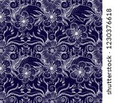 flower doodles seamless pattern.... | Shutterstock .eps vector #1230376618