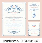 ornate wedding table number ... | Shutterstock .eps vector #1230384652