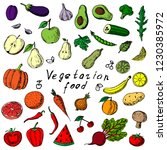 hand drawn set of fruits and...