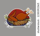 happy thanksgiving sticker....   Shutterstock .eps vector #1230392365