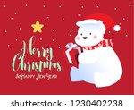 merry christmas polar bears... | Shutterstock .eps vector #1230402238