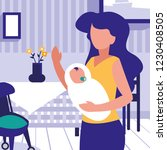 mother with baby inside home... | Shutterstock .eps vector #1230408505