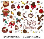 merry christmas sticker set... | Shutterstock .eps vector #1230442252
