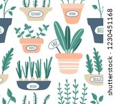 kitchen herbs seamless pattern. ... | Shutterstock .eps vector #1230451168