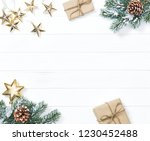 christmas tree branches with... | Shutterstock . vector #1230452488