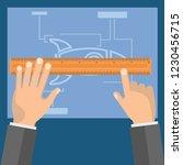 measuring ruler in hand. tools... | Shutterstock .eps vector #1230456715