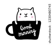 Stock vector good morning lettering cup of coffee with cat illustration black and white hand drawn in 1230480745
