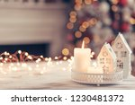 candles and christmas... | Shutterstock . vector #1230481372