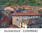 View of a typical French Rural Village in the Ardeche - stock photo
