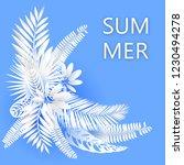 summer tropical leaf. paper cut ... | Shutterstock .eps vector #1230494278