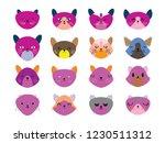 vector illustration set of cute ... | Shutterstock .eps vector #1230511312