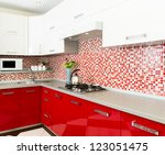 Stock photo kitchen red and white colors 123051475