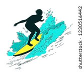 silhouette of a surfer who cuts ...   Shutterstock .eps vector #1230516442