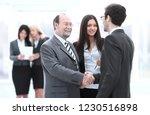 welcome and handshake of... | Shutterstock . vector #1230516898