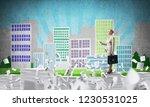 business woman in suit standing ...   Shutterstock . vector #1230531025