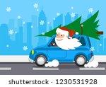 merry santa on a car carries...   Shutterstock .eps vector #1230531928