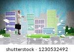 business woman in suit standing ...   Shutterstock . vector #1230532492