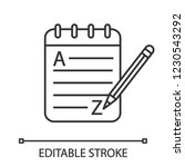 grammar and writing linear icon.... | Shutterstock .eps vector #1230543292