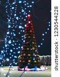 merry cristmas. big tree with...   Shutterstock . vector #1230544228