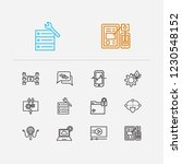 technology icons set. cyber...