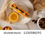 white creamy piece of cake with ... | Shutterstock . vector #1230588292