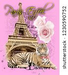 paris eiffel and rose tiger... | Shutterstock . vector #1230590752