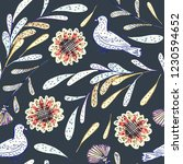 doodle floral seamless pattern. ... | Shutterstock . vector #1230594652