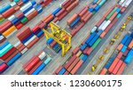 container ship in export and... | Shutterstock . vector #1230600175